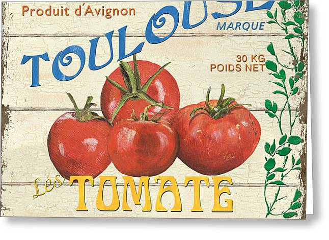 Plank Greeting Cards - French Veggie Sign 3 Greeting Card by Debbie DeWitt
