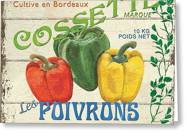 Yellow Pepper Greeting Cards - French Veggie Sign 4 Greeting Card by Debbie DeWitt