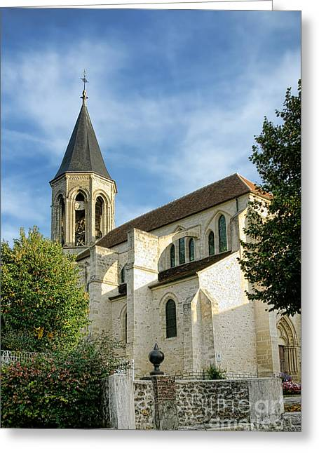 French Village Church Greeting Card by Olivier Le Queinec