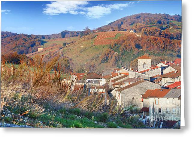 Mountain Valley Greeting Cards - French village in autumn season Greeting Card by Gregory DUBUS
