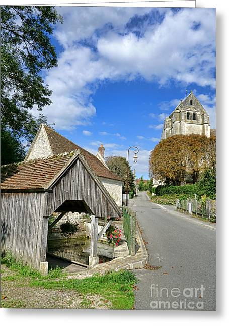 Church Street Greeting Cards - French Village Road Greeting Card by Olivier Le Queinec