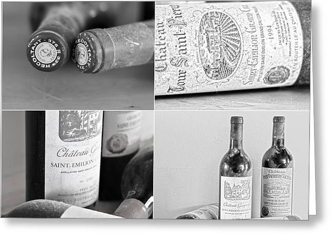 Wines Of Bordeaux Greeting Cards - French Wine Bottles Collage Greeting Card by Nomad Art And  Design