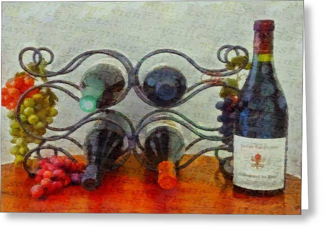 Wine Grapes Mixed Media Greeting Cards - French Wine Rack Greeting Card by Dan Sproul