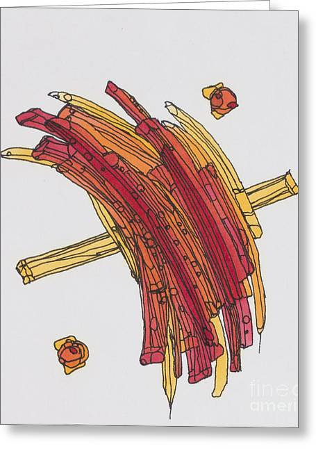 Fries Drawings Greeting Cards - FrenchFried Greeting Card by Kristi Chapman