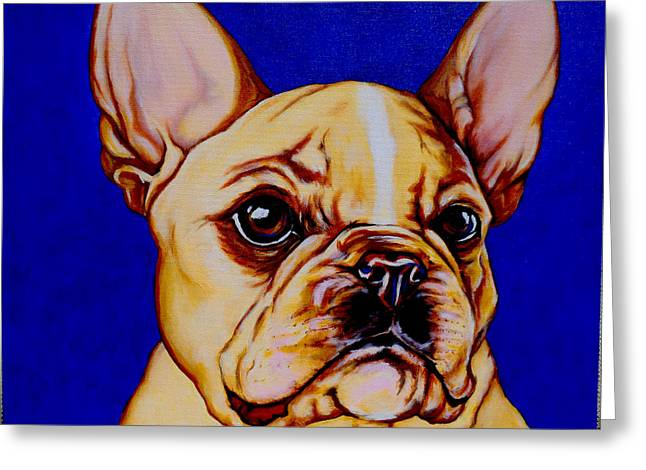 Cute Frenchie Art Greeting Cards - Frenchie Greeting Card by Lina Tricocci
