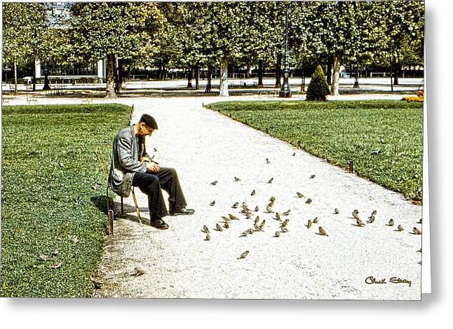 Sparrow Greeting Cards - Frenchman Feeding the Sparrows Greeting Card by Chuck Staley