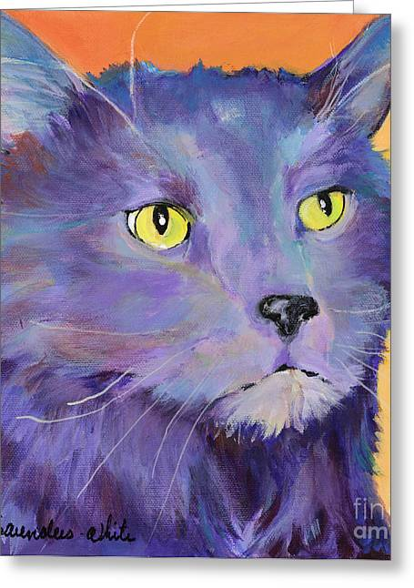 Cat Prints Greeting Cards - Frenchy Greeting Card by Pat Saunders-White