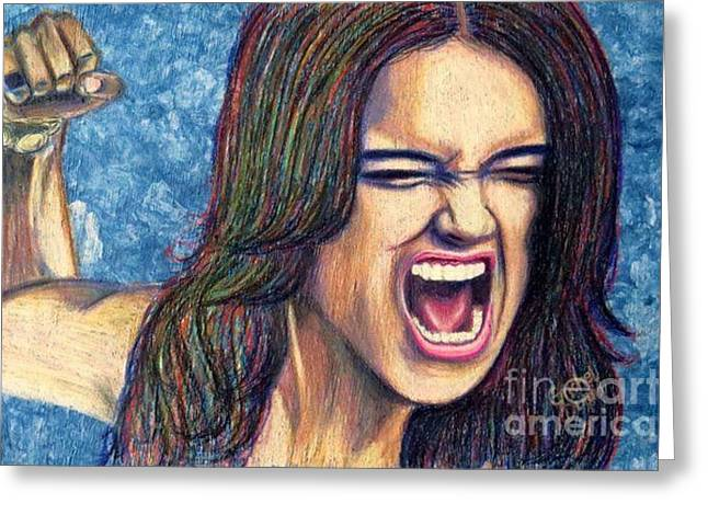 Punch Pastels Greeting Cards - Frenzy Greeting Card by Griselda Duran