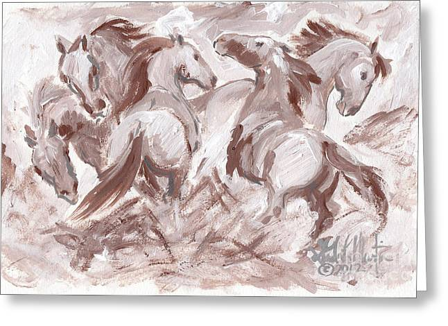 Llmartin Greeting Cards - Frenzy Greeting Card by Linda L Martin