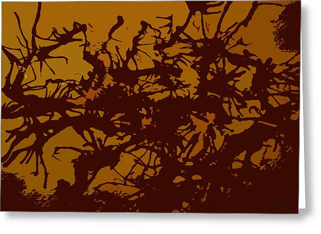 Raw Umber Greeting Cards - Frenzy Too Greeting Card by Malinda Kopec