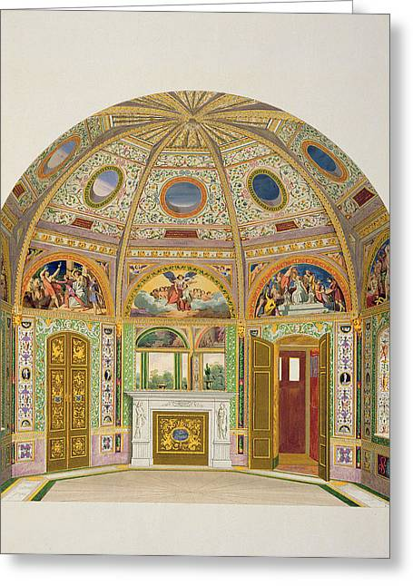 Domes Drawings Greeting Cards - Fresco Decoration In The Summer House Greeting Card by English School
