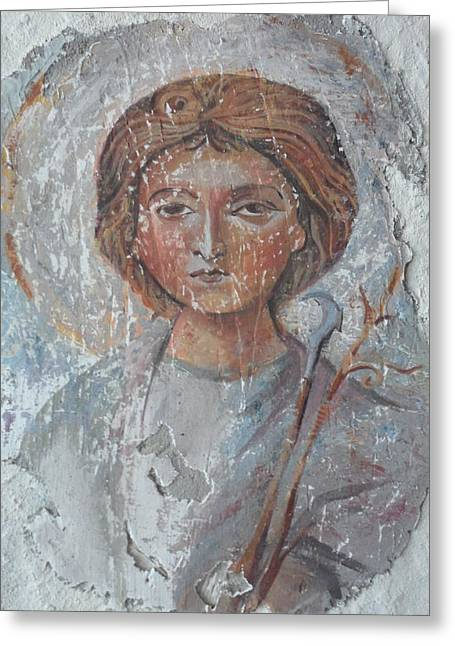 Fresco Reliefs Greeting Cards - Fresco of St.Trifun Greeting Card by Antoni Golabovski