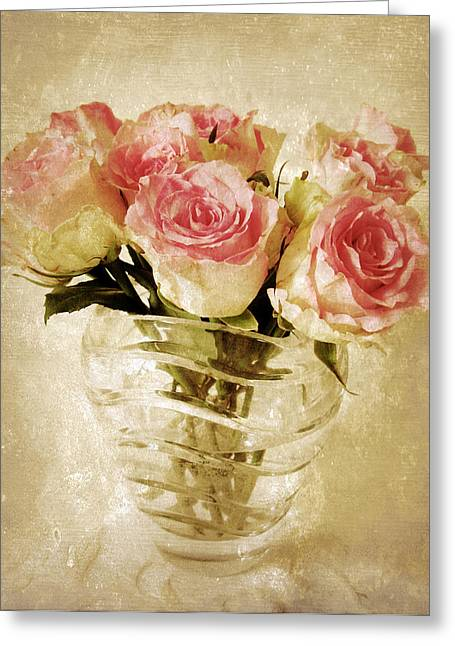 Glass Vase Greeting Cards - Fresco Roses Greeting Card by Jessica Jenney