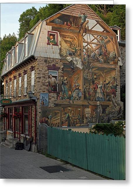 Champlain Greeting Cards - Fresco Wall Art Painting in Quebec City Greeting Card by Juergen Roth