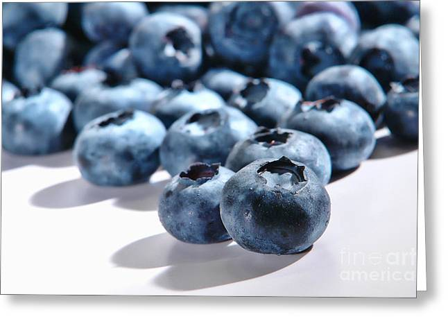 Blueberries Greeting Cards - Fresh and Natural Blueberries Close Up on White Greeting Card by Olivier Le Queinec