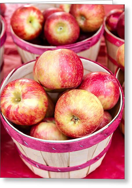 Home Grown Greeting Cards - Fresh Apples in Buschel Baskets at Farmers Market Greeting Card by Teri Virbickis