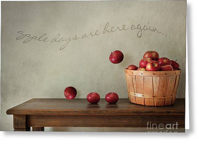 Wooden Table Greeting Cards - Fresh apples on wooden table Greeting Card by Sandra Cunningham