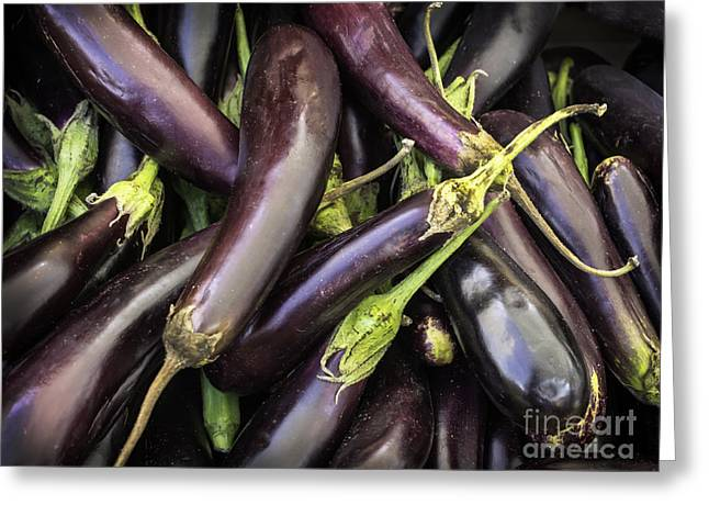 Food Safe Greeting Cards - Fresh aubergines - eggplants Greeting Card by Frank Bach