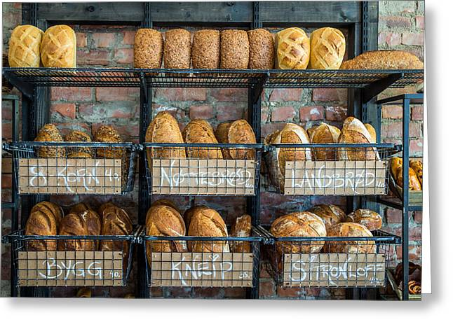 Fresh Baked Bread At Small Town Bakery  Greeting Card by Aldona Pivoriene