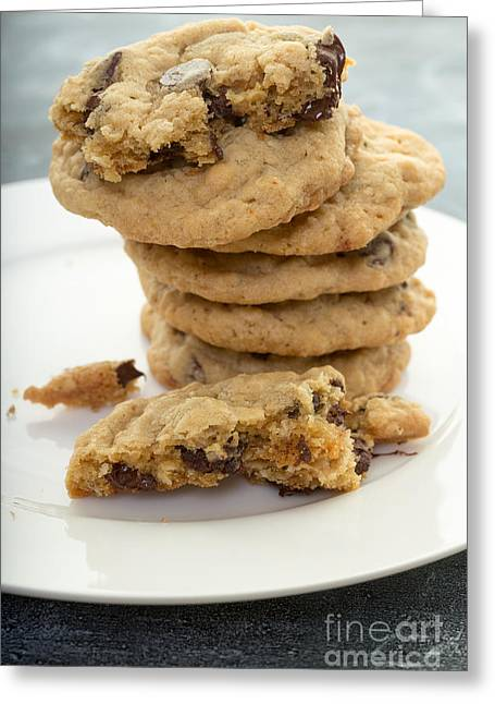 Sugary Greeting Cards - Fresh baked chocolate chip cookies Greeting Card by Edward Fielding