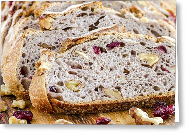 Loaf Of Bread Greeting Cards - Fresh Baked Cranberry Walnut Bread Greeting Card by Teri Virbickis