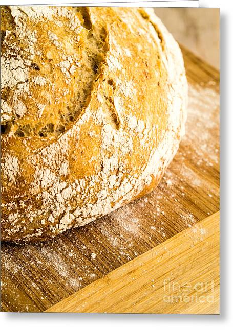 Bread Loaf Greeting Cards - Fresh Baked Loaf of Artisan Bread Greeting Card by Edward Fielding