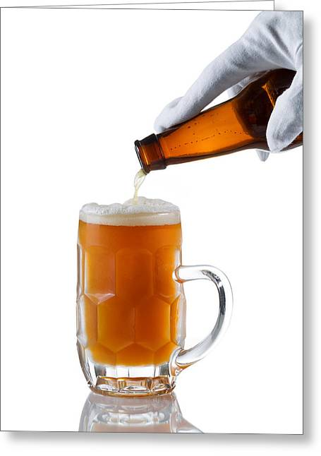 Amber Beer Greeting Cards - Fresh beer being poured by server  Greeting Card by Tom  Baker