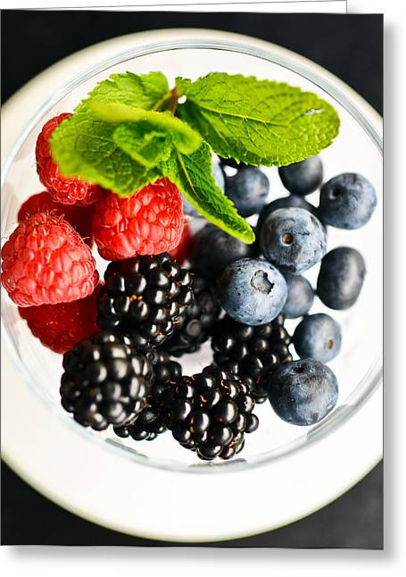 Blueberris Greeting Cards - Fresh Berries on a plate Greeting Card by Anna Bryukhanova