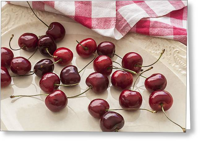 Colander Greeting Cards - Fresh Bing Cherries Greeting Card by Rich Franco
