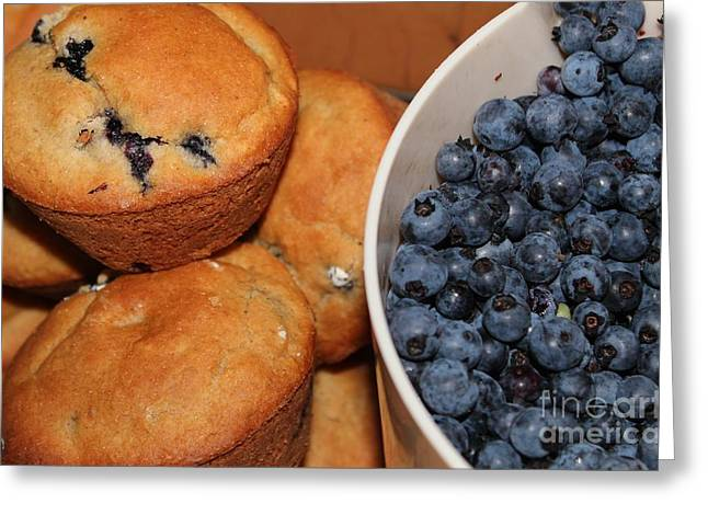 Gluten Free Greeting Cards - Fresh Blueberries and Muffins Greeting Card by Barbara Griffin