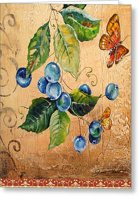 Acrylic Art Greeting Cards - Fresh Blueberries Greeting Card by Jean Plout