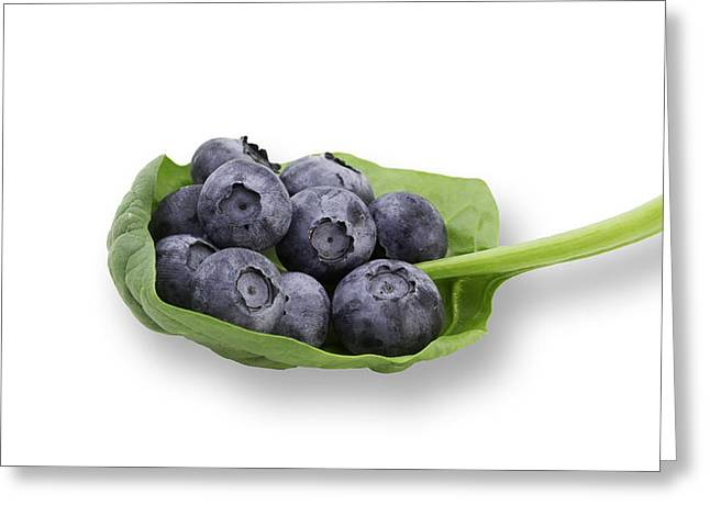 Many Greeting Cards - Fresh Blueberries on Green Leaf Greeting Card by Don Regar
