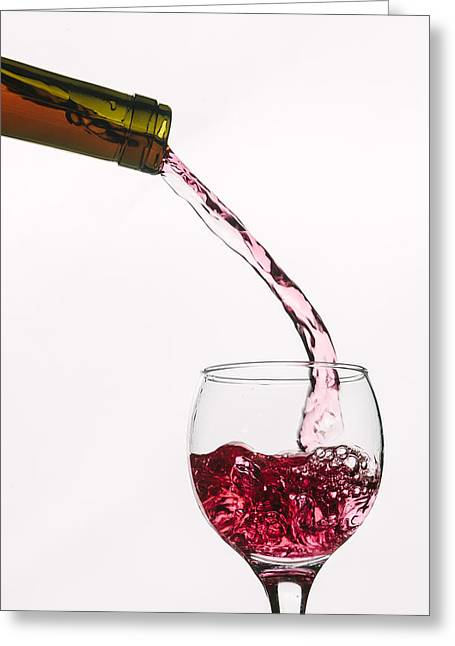 Wine Pour Digital Greeting Cards - Fresh Bottle - Textured Greeting Card by Matthew Thomson