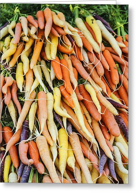 Local Food Greeting Cards - Fresh carrots background Greeting Card by Vishwanath Bhat