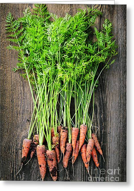 Produce Greeting Cards - Fresh carrots  Greeting Card by Elena Elisseeva