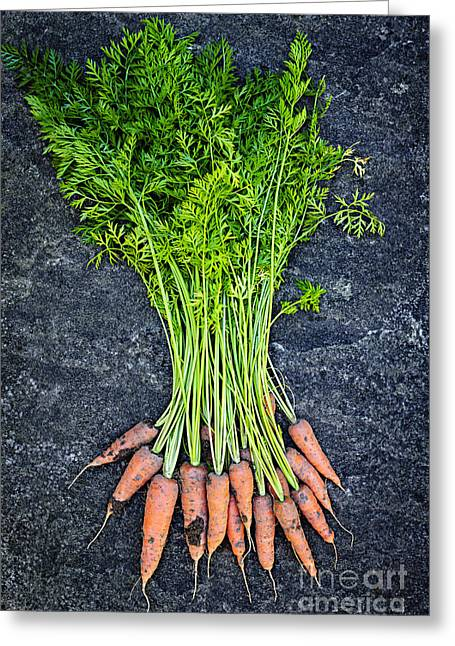 Produce Greeting Cards - Fresh carrots from garden Greeting Card by Elena Elisseeva