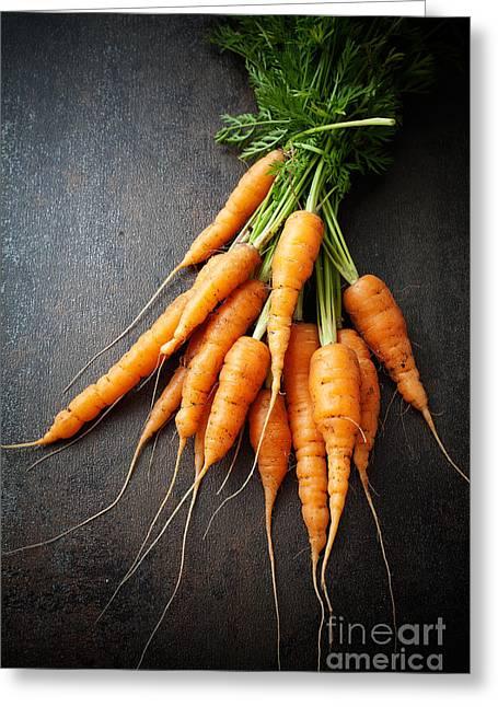 Carotene Greeting Cards - Fresh carrots Greeting Card by Kati Molin