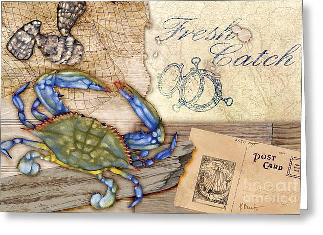 Crab Nets Greeting Cards - Fresh Catch Blue Crab Greeting Card by Paul Brent
