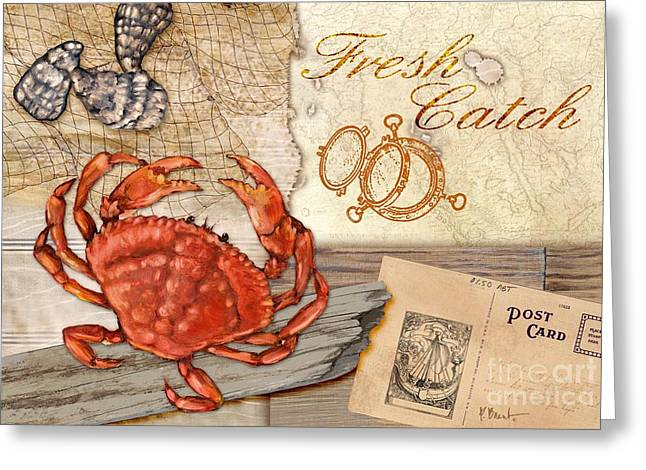Crab Nets Greeting Cards - Fresh Catch Dungeness Crab Greeting Card by Paul Brent