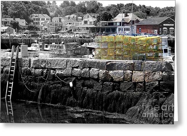New England Village Greeting Cards - Yellow Lobster Pots Greeting Card by Eunice Miller