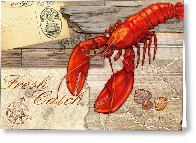 Lobster Greeting Cards - Fresh Catch Lobster Greeting Card by Paul Brent