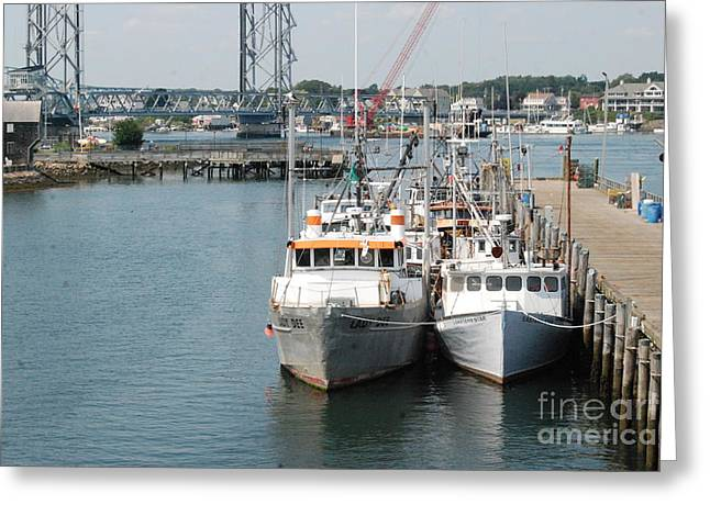 Boats At Dock Greeting Cards - Fresh Catch Of The Day Greeting Card by Eunice Miller