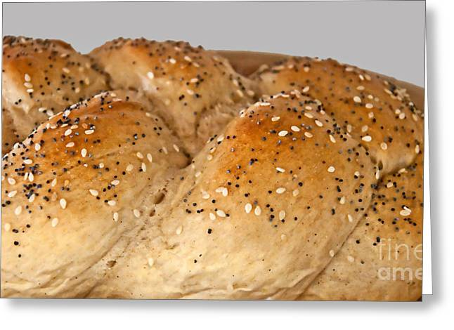 Cut In Half Greeting Cards - Fresh Challah Bread Greeting Card by Valerie Garner