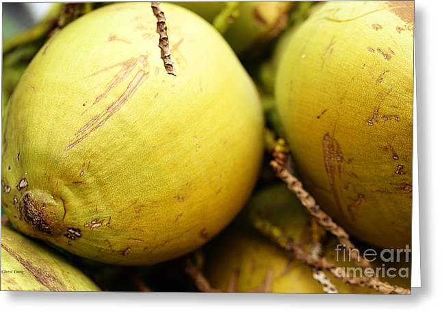 Garden Grown Photographs Greeting Cards - Fresh Coconut Greeting Card by Cheryl Young