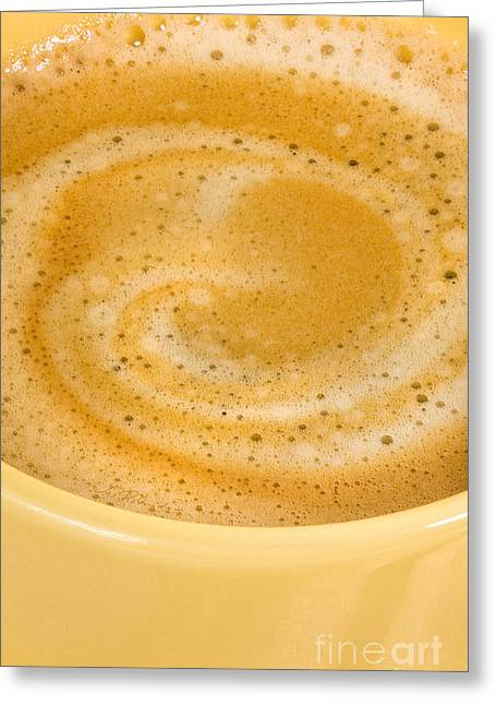 Owner Photographs Greeting Cards - Fresh Coffee Macro in Yellow Cell Phone Case Greeting Card by Iris Richardson