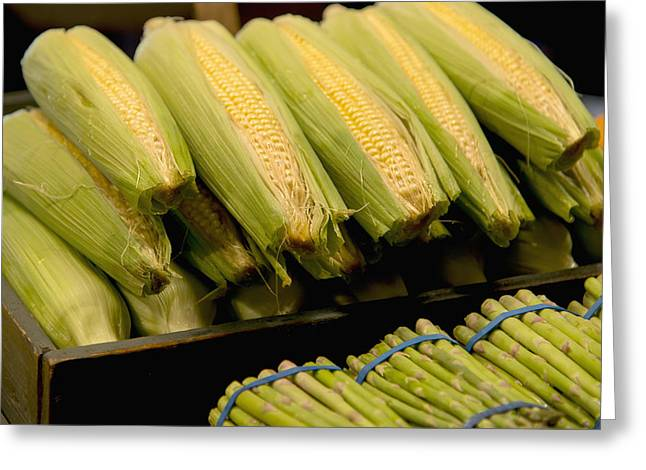 Local Food Places Greeting Cards - Fresh Corn On The Cob And Asparagus Greeting Card by Keith Levit