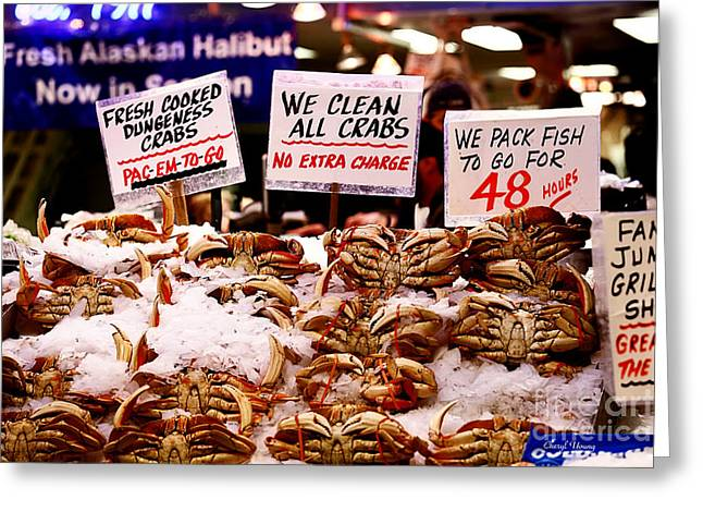 Deli Greeting Cards - Fresh Crab Greeting Card by Cheryl Young