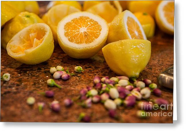 Local Food Photographs Greeting Cards - Fresh Cut Lemons with blossoms Greeting Card by Iris Richardson