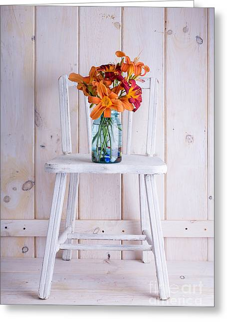Chairs Greeting Cards - Fresh Day Lilly Flowers  Greeting Card by Edward Fielding