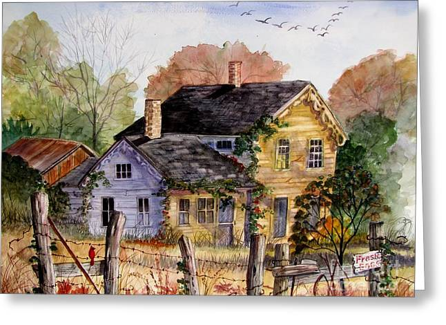 Old Fence Posts Paintings Greeting Cards - Fresh Eggs For Sale Greeting Card by Marilyn Smith